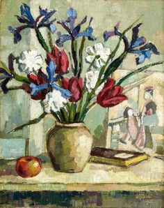 Gregoire Johannes Boonzaier SOUTH AFRICAN Still Life with Irises and Tulips signed and dated 1935 oil on canvas 50 by South African Artists, Fine Art Auctions, Flower Paintings, Irises, Modernism, Impressionism, Flower Art, Still Life, Tulips