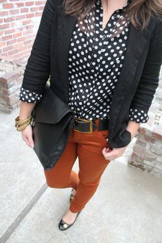 Polka dots and orange pants - just in time for fall :)