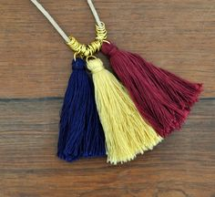 Jump Ring Tassel Necklace Navy Burgandy and Gold tutorial on madeinaday.com