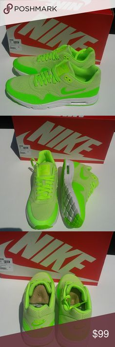 Women's Nike Ultra Moire sz 8 If you're a night walker/runner and need a cool, comfy and visible shoe where the color acts a safety feature then you are in walker's heaven. The neon green color way goes well with all black workout gear. The missile is reflexive which helps for evening walks.  Brand new in box White/ Neon green colorway 100% authentic Never worn Nike Shoes Athletic Shoes