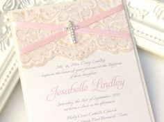 LAILA - Dainty Lace Baptism Invitation - Customizable - Pink and Ivory