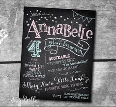 All About Me Birthday Chalkboard Sign Printable Art Print Custom by ItsyBelle