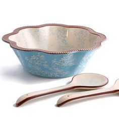 temp-tations® by Tara: temp-tations® Floral Lace Fluted Salad Bowl with Serving Tongs