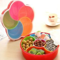 Tray Plate Dish W/ Lid Multicolor Plastic Fruit Candy Sealed Box Nuts Snack Case #Unbranded
