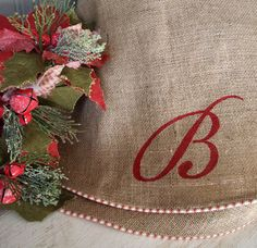 Monogrammed burlap skirt with red ticking detail