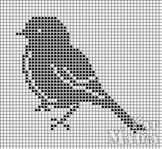 Filet crochet or counted cross stitch bird Cross Stitch Bird, Cross Stitch Animals, Cross Stitch Charts, Cross Stitching, Cross Stitch Embroidery, Embroidery Patterns, Cross Stitch Patterns, Crochet Patterns, Knitting Patterns