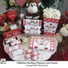 Popcorn and Candy - Valentine Monkey Theme Printables for Kids and grand children, grand kids Valentine Gift Ideas, Movie Night, Popcorn Box, Popcorn wrappers, Hershey Mini, Hershey 1.55 oz Valentine Monkeys Wrappers, Snickers Funsize Wrappers by  Gina Jane Designs - DAISIE Company