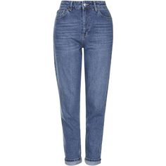TOPSHOP MOTO Dark Blue Mom Jeans (390 GTQ) ❤ liked on Polyvore featuring jeans, pants, bottoms, topshop, blue, deep blue jeans, high waisted jeans, dark blue high waisted jeans, tapered leg jeans and high rise jeans