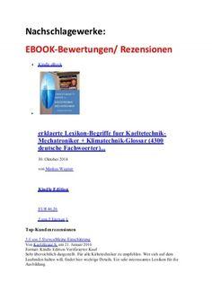 EBOOK-Bewertung/ Rezension: Nachschlagewerke Kaeltetechnik + Woerterbuch englisch Maschinenbau