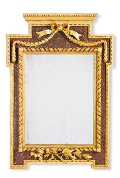 A Swedish simulated porphyry verre eglomisé and carved Gustavian mirror, late 18th century of rectangular form with a projecting cresting with an egg-and-dart moulding above a ribbon-tied berried laurel swag, the rectangular plate within a spiral-twist alternating band of foliate fronds and beading, with projecting corners, the apron with a crossed spray of laurel leaves and oak leaves and acorns on a verre eglomisé faux porphyry ground, 123cm. high, 85.5cm. wide; 3ft. 4½in., 2ft. 9¾in.