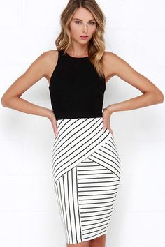 Kiss Cross Black and Ivory Striped Midi Dress!