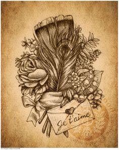 steampunk bouquets | Victorian Steampunk Rose Feather Flower Bouquet - Art Print - Brigid ...