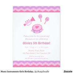 Music Instruments Girls Birthday Party Invitations
