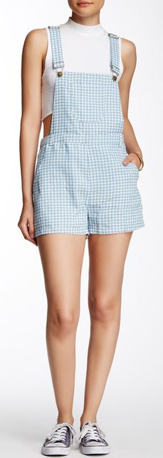 Cute gingham check overall romper