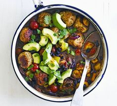 Give your favourite meatballs a healthy makeover with this low fat, low calorie, low GI recipe with turkey mince, black beans and avocado