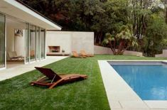 pool, lounge, outdoor fireplace - Lighter coping around pool and grass