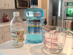 summer feet ---- 1/2 cup of Vinegar, 1/2 cup of Listerine, 1 cup very warm water (I say very warm b/c it gets pretty chilly after 10 minutes otherwise) and a pumice stone