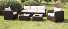 CM-OS1820IV Outdoor Petio Set Olina CollectionSit in style and enjoy the sun with this beautiful outdoor sofa. The sleektrack arms steadily encase the fabric cushions and pillows whilewrapped in a tight wicker frame. This patio set includes a sofa, 2 chairsand 2 tables.• Contemporary Style• Clear Tempered Glass Top• UV