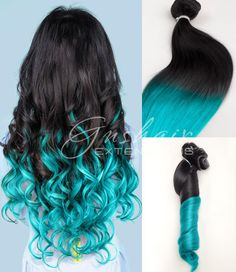 Light Turquoise Ombre human hair extensions,Black to Blue Mermaid Ombre Indian Remy hair,Body Wave,3 bundles hair weft one set by OmbreHairCustomed on Etsy