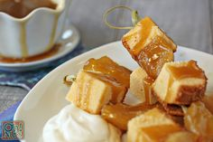 Honey Cake Skewers with Honey Caramel Sauce for Rosh Hashanah - a new twist on honey cake! From OhNuts.com