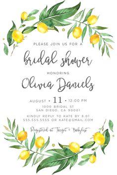 Lemon themed bridal shower invitations, Lemon theme, Bridal shower invitation with lemons and greenery great for a citrus shower!