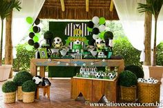 Futebol Soccer Theme Parties, Soccer Party, Party Themes, Party Ideas, Soccer Banquet, Lalaloopsy, Table Decorations, Home Decor, 1 Year