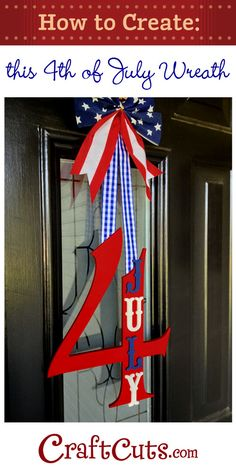 60 Amazing July Wreaths For Your Front Door - DigsDigs Fourth Of July Decor, 4th Of July Decorations, 4th Of July Party, July 4th, 4th Of July Ideas, 4th Of July Wreaths, Spring Wreaths, Patriotic Crafts, July Crafts