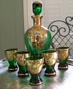 Vintage Czech Bohemian Handpainted Emerald Green Glass Decanter Cordial Set With Gold Gilding and Enamel Flowers. Moser.