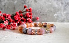 Flower Agate Healing Gemstones with High Quality Rose Rhinestones and Accents