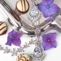 Singularity - Cercei cu cristale placați cu platină / Zirconium Earrings, necklace, chocolate & violets