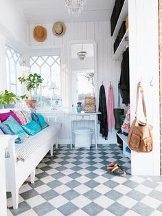 house of turquoise , mudroom House Of Turquoise, Interior Exterior, Modern Interior, Interior Design, Style At Home, Br House, Checkerboard Floor, Mini Loft, Colorful Apartment