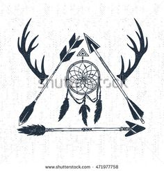 Hand drawn tribal icon with textured dream catcher, horns, and arrows vector…