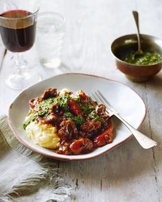Braised beef, anchovy salsa and polenta Recipe For 2 People, Braised Beef, Beef Casserole, Meals For Two, Beef Steak, Pork, Cereal Recipes, Steak Recipes, Polenta