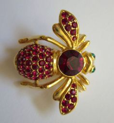 Signed Joan Rivers Bee Brooch Pin With Rich Ruby Red Swarovski Crystals and Emerald Rhinestones