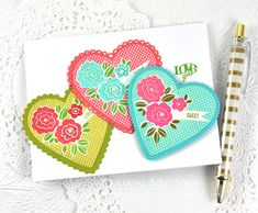 With All My Heart Revisited: Love You Heart Trio Card by Dawn McVey for Papertrey Ink (February 2015)