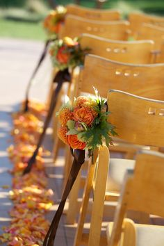 Beautiful chair attachments by Wine Country Flowers