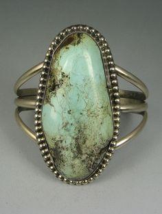 Vntg Navajo Large Wide Dry Creek Turquoise Bracelet
