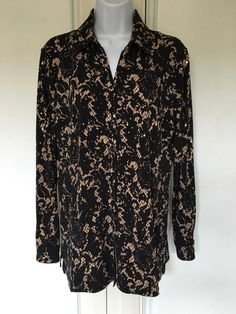 6ddb0c76 M Collection Womens Top Blouse Black Gold Size S Button Down Long Sleeves  #MCollection #