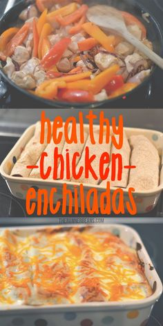 Easy Healthy Chicken Enchiladas - The Runner Beans Healthy Living Recipes, Healthy Meals For One, Good Healthy Snacks, Healthy Breakfast Recipes, Healthy Dinner Recipes, Healthy Chicken Enchiladas, Clean Eating Snacks, Healthy Eating, Tortillas