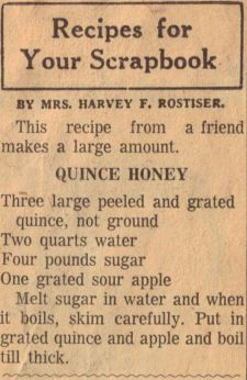 Quince Honey Recipe Clipping, I believe this was my Great-Grandmother' s recipe.
