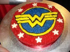 Wonder Woman Cake - Round 30th Birthday Superhero Cake, Superhero Birthday Party, 30th Birthday, Girl Birthday, Birthday Ideas, Cake Birthday, Wonder Woman Birthday Cake, Wonder Woman Cake, Wonder Woman Party