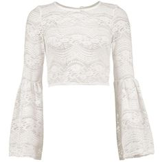 1582a644cfab4f Boohoo Sarah Lace Bell Sleeve Crop ( 20) ❤ liked on Polyvore featuring tops