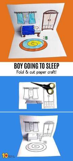 Boy Going to Sleep – Fold and Cut - Trail Tutorial and Ideas Art For Kids, Crafts For Kids, Kids Diy, Snow Globe Crafts, Word Pictures, Pop Up Cards, Learning Toys, Interactive Notebooks, Go To Sleep