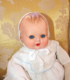 """Old Celluloid Character BABY DOLL  Minerva Made in Germany 16"""" Original Dress 
