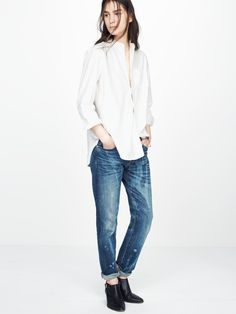 Rivet & Thread workshirt worn with RIvet & Thread slim boyjean + the Wes boot at Madewell.