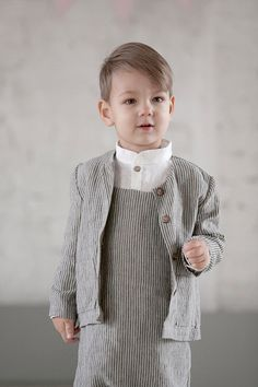 Boy clothes Linen suit ring bearer outfit baptism by MarumaKids