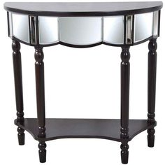 Wood demilune console table with a mirrored front and bottom display shelf.  Product: Console tableConstruction Material: ...