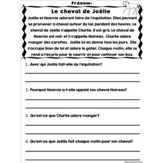 Compréhension de lecture - 20 textes French Worksheets, English Grammar Worksheets, French Teaching Resources, Teaching French, French Language Lessons, French Lessons, School Organisation, French Kids, Reading Comprehension Activities
