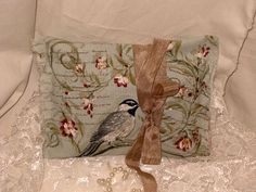 French Vintage Handmade 100% Organic Lavender Sachet French Script and Birds (Sachet017) on Etsy, $5.00