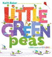 Little green peas make their way into collections of objects of many different colors, from blue boats, seas, and flags, to orange balloons, umbrellas, and fizzy drinks